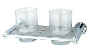 OS Glass Double Toothbrush Tumbler with Wall Plate Chrome